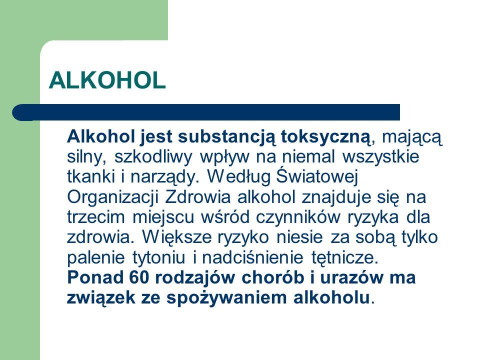 ALKOHOL Alkohol jest substancją toksyczną, mającą silny, szkodliwy wpływ na niemal wszystkie tkanki i narządy. Według Światowej Organizacji Zdrowia al