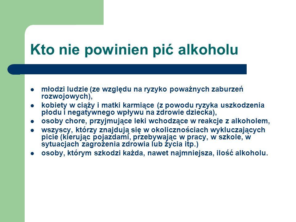 Kto nie powinien pić alkoholu młodzi ludzie (ze względu na ryzyko poważnych zaburzeń rozwojowych), kobiety w ciąży i matki karmiące (z powodu ryzyka u