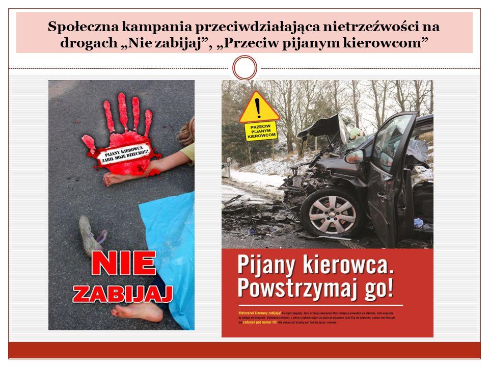 """Społeczna kampania przeciwdziałająca nietrzeźwości na drogach """"Nie zabijaj"""", """"Przeciw pijanym kierowcom"""""""