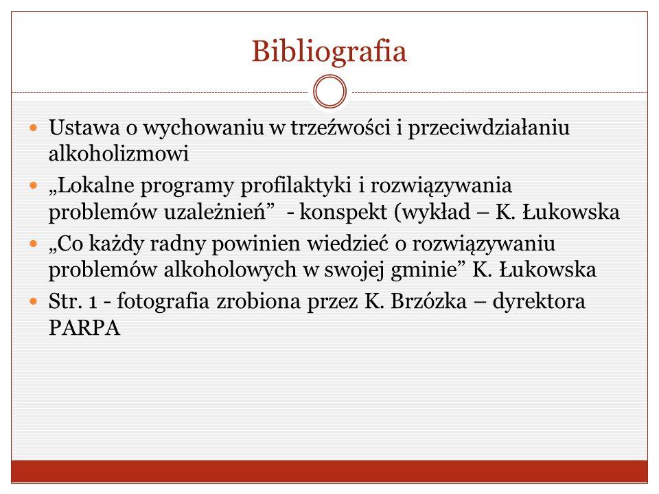 """Bibliografia Ustawa o wychowaniu w trzeźwości i przeciwdziałaniu alkoholizmowi """"Lokalne programy profilaktyki i rozwiązywania problemów uzależnień - konspekt (wykład – K."""