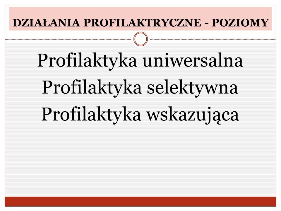 DZIAŁANIA PROFILAKTRYCZNE - POZIOMY Profilaktyka uniwersalna Profilaktyka selektywna Profilaktyka wskazująca