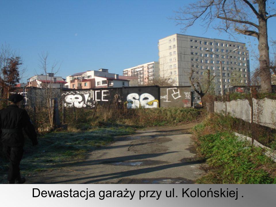 Dewastacja garaży przy ul. Kolońskiej.