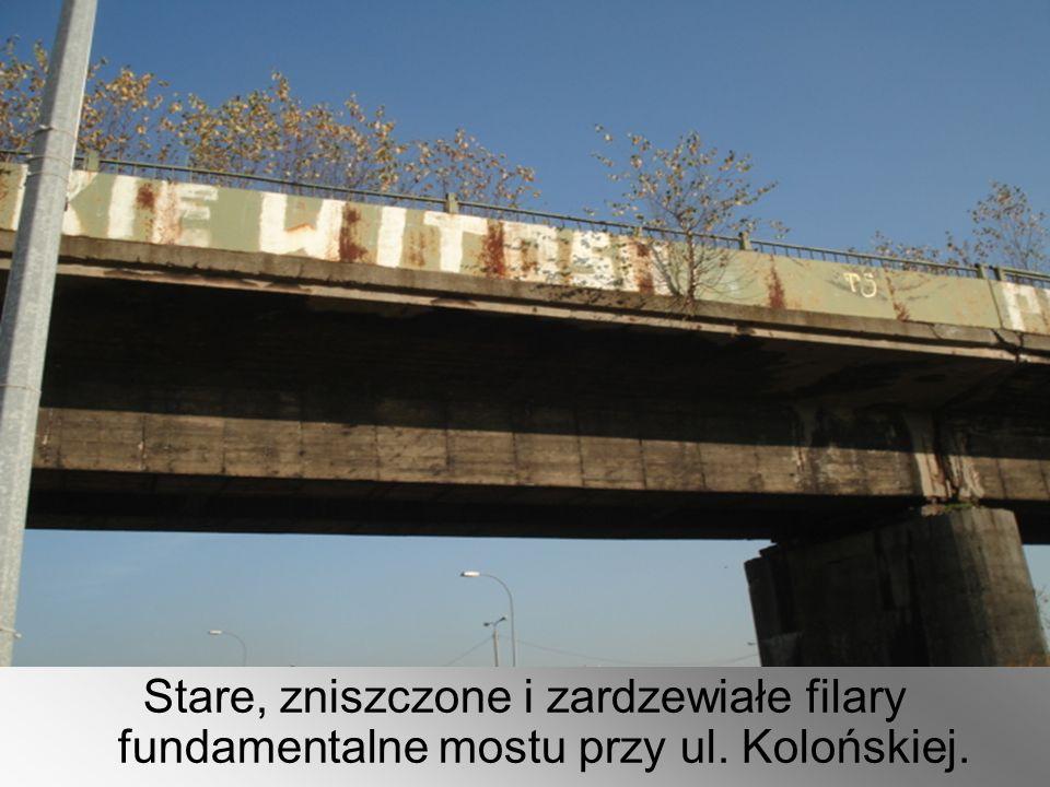 Stare, zniszczone i zardzewiałe filary fundamentalne mostu przy ul. Kolońskiej.