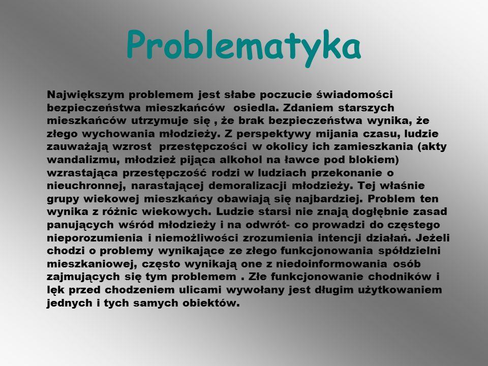 Problematyka Największym problemem jest słabe poczucie świadomości bezpieczeństwa mieszkańców osiedla.