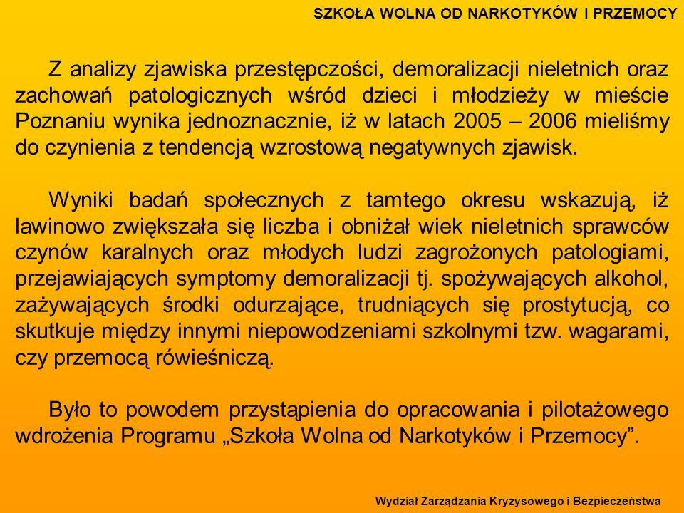 Wydział Zarządzania Kryzysowego i Bezpieczeństwa Z analizy zjawiska przestępczości, demoralizacji nieletnich oraz zachowań patologicznych wśród dzieci i młodzieży w mieście Poznaniu wynika jednoznacznie, iż w latach 2005 – 2006 mieliśmy do czynienia z tendencją wzrostową negatywnych zjawisk.
