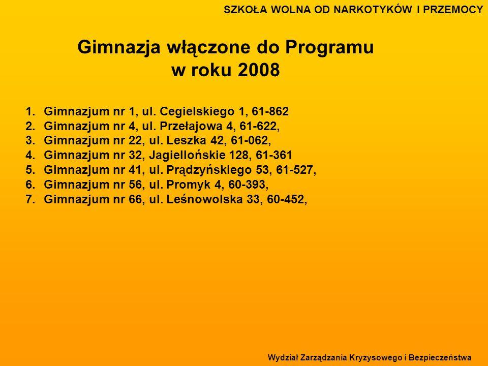 Wydział Zarządzania Kryzysowego i Bezpieczeństwa SZKOŁA WOLNA OD NARKOTYKÓW I PRZEMOCY Gimnazja włączone do Programu w roku 2008 1.Gimnazjum nr 1, ul.