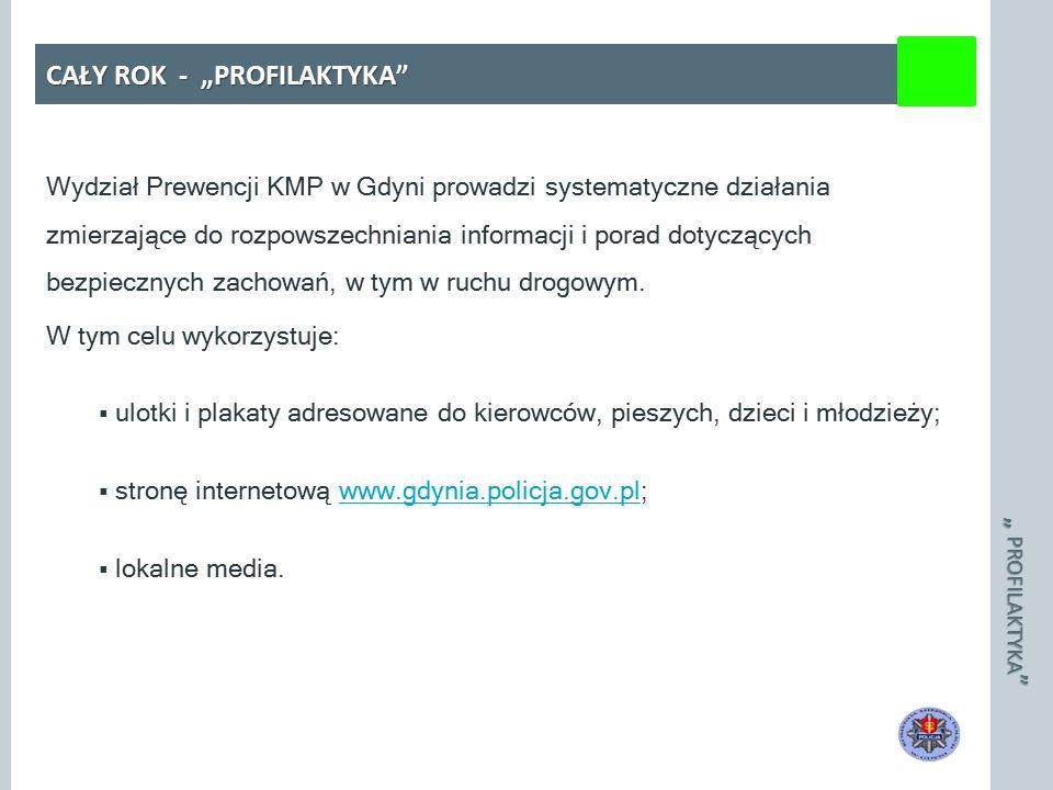 """"""" PROFILAKTYKA CAŁY ROK - """"PROFILAKTYKA Wydział Prewencji KMP w Gdyni prowadzi systematyczne działania zmierzające do rozpowszechniania informacji i porad dotyczących bezpiecznych zachowań, w tym w ruchu drogowym."""