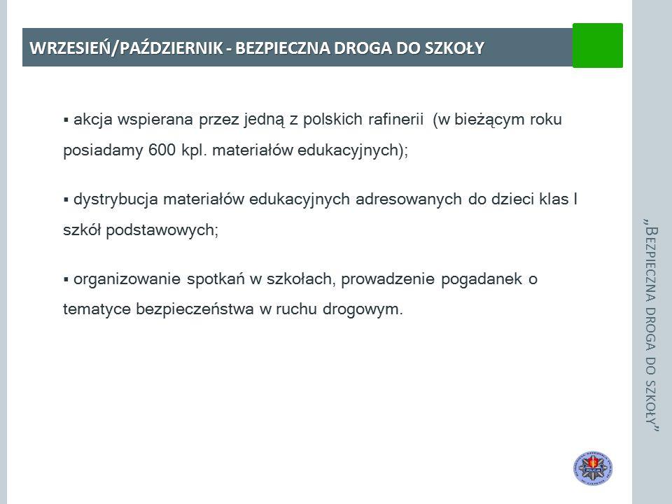 """""""B EZPIECZNA DROGA DO SZKOŁY WRZESIEŃ/PAŹDZIERNIK - BEZPIECZNA DROGA DO SZKOŁY  akcja wspierana przez jedną z polskich rafineri i (w bieżącym roku posiadamy 600 kpl."""