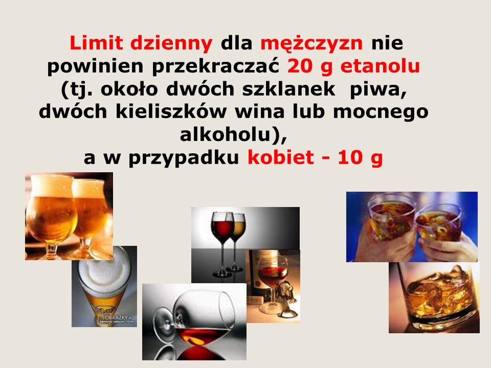 Limit dzienny dla mężczyzn nie powinien przekraczać 20 g etanolu (tj.