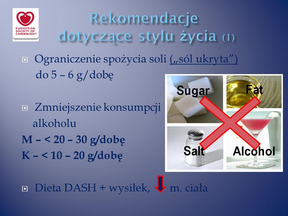 """ Ograniczenie spożycia soli (""""sól ukryta ) do 5 – 6 g/dobę  Zmniejszenie konsumpcji alkoholu M – < 20 – 30 g/dobę K – < 10 – 20 g/dobę  Dieta DASH + wysiłek, m."""