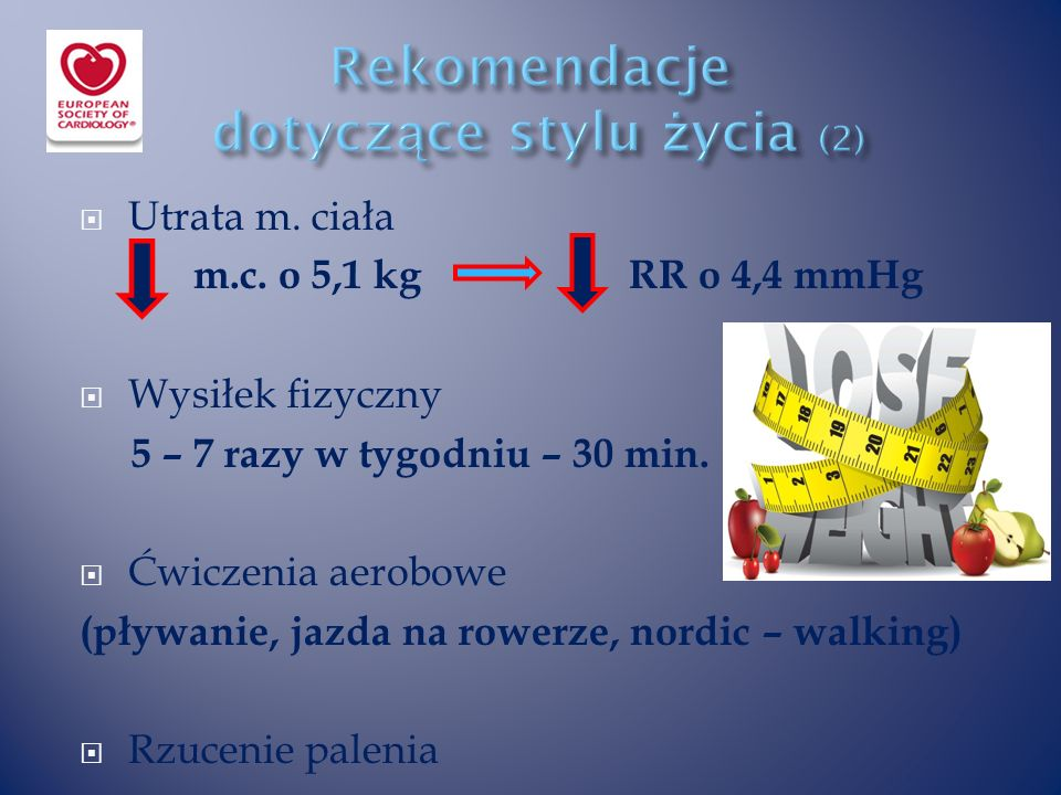  Utrata m. ciała m.c. o 5,1 kg RR o 4,4 mmHg  Wysiłek fizyczny 5 – 7 razy w tygodniu – 30 min.