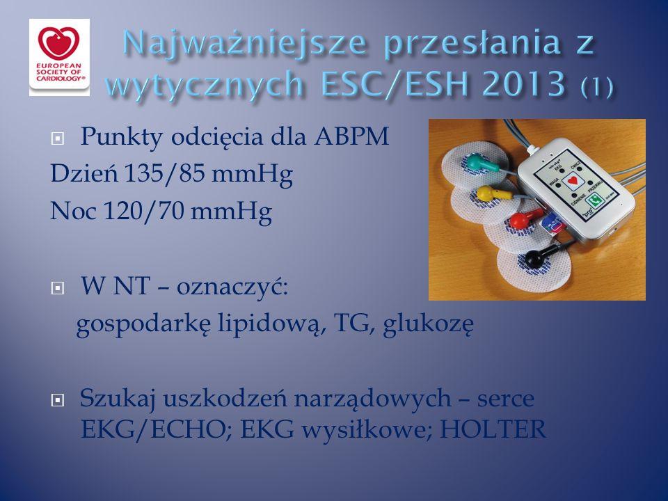  Punkty odcięcia dla ABPM Dzień 135/85 mmHg Noc 120/70 mmHg  W NT – oznaczyć: gospodarkę lipidową, TG, glukozę  Szukaj uszkodzeń narządowych – serce EKG/ECHO; EKG wysiłkowe; HOLTER