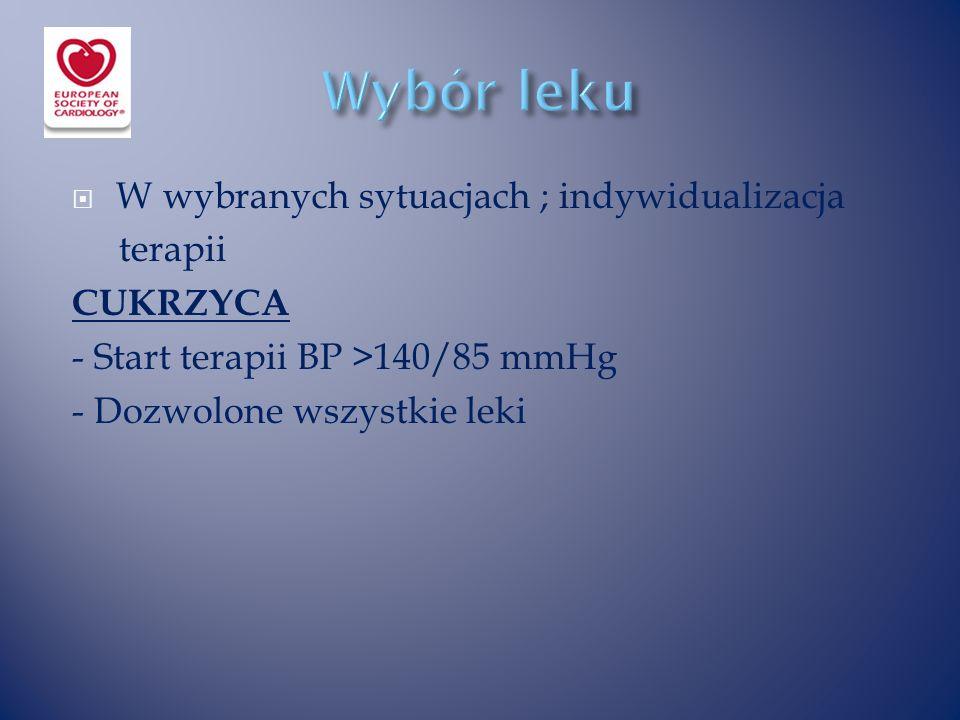  W wybranych sytuacjach ; indywidualizacja terapii CUKRZYCA - Start terapii BP >140/85 mmHg - Dozwolone wszystkie leki