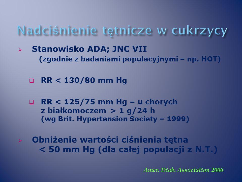  Stanowisko ADA; JNC VII (zgodnie z badaniami populacyjnymi – np.