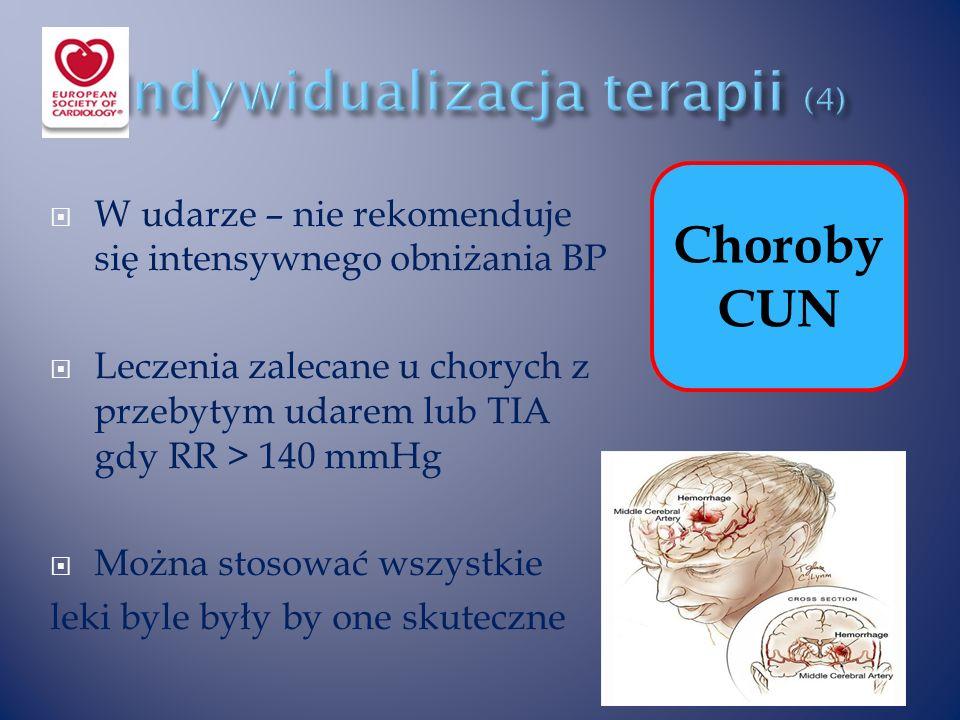  W udarze – nie rekomenduje się intensywnego obniżania BP  Leczenia zalecane u chorych z przebytym udarem lub TIA gdy RR > 140 mmHg  Można stosować wszystkie leki byle były by one skuteczne Choroby CUN