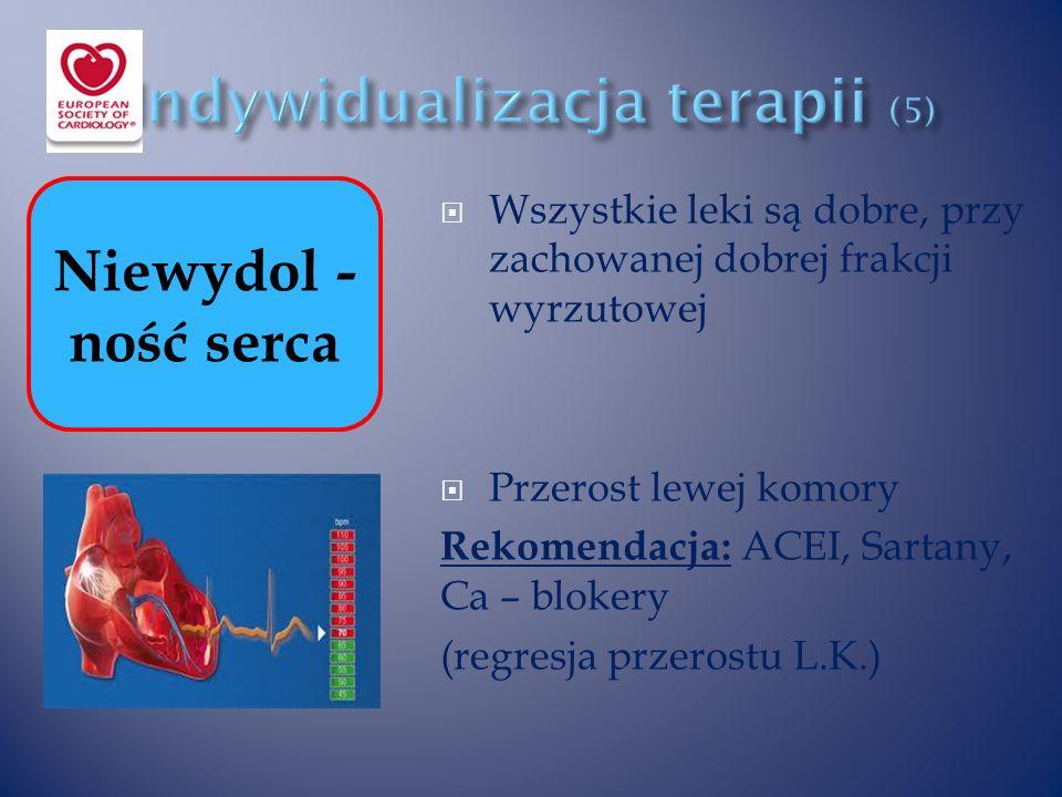  Wszystkie leki są dobre, przy zachowanej dobrej frakcji wyrzutowej  Przerost lewej komory Rekomendacja: ACEI, Sartany, Ca – blokery (regresja przerostu L.K.) Niewydol - ność serca