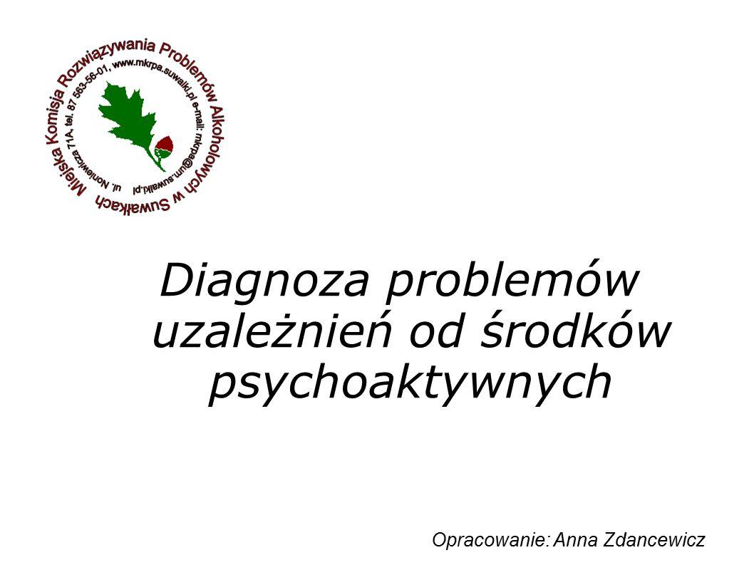 Diagnoza problemów uzależnień od środków psychoaktywnych Opracowanie: Anna Zdancewicz