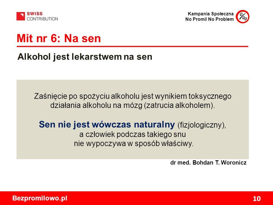 Kampania Społeczna No Promil No Problem Bezpromilowo.pl 10 Mit nr 6: Na sen Zaśnięcie po spożyciu alkoholu jest wynikiem toksycznego działania alkoholu na mózg (zatrucia alkoholem).