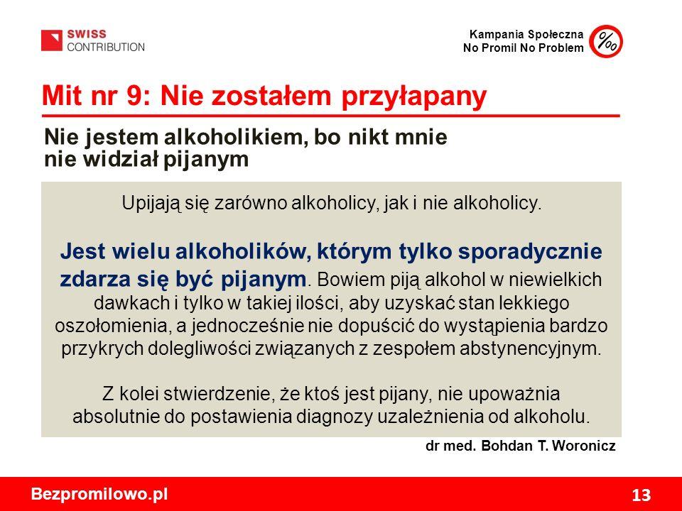 Kampania Społeczna No Promil No Problem Bezpromilowo.pl 13 Mit nr 9: Nie zostałem przyłapany Upijają się zarówno alkoholicy, jak i nie alkoholicy.