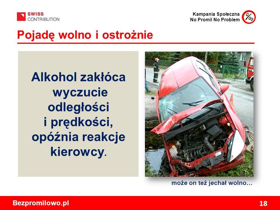 Kampania Społeczna No Promil No Problem Bezpromilowo.pl 18 Pojadę wolno i ostrożnie może on też jechał wolno… Alkohol zakłóca wyczucie odległości i prędkości, opóźnia reakcje kierowcy.