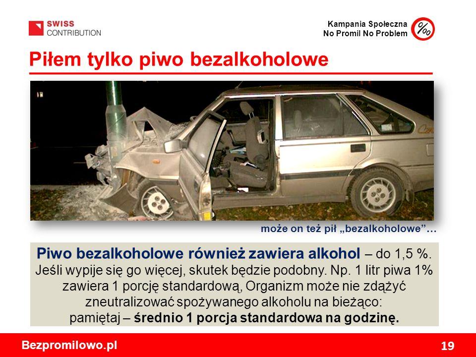 Kampania Społeczna No Promil No Problem Bezpromilowo.pl 19 Piłem tylko piwo bezalkoholowe Piwo bezalkoholowe również zawiera alkohol – do 1,5 %.