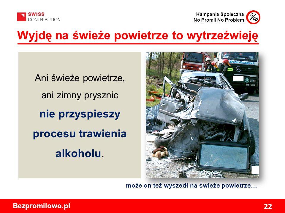 Kampania Społeczna No Promil No Problem Bezpromilowo.pl 22 Wyjdę na świeże powietrze to wytrzeźwieję może on też wyszedł na świeże powietrze… Ani świeże powietrze, ani zimny prysznic nie przyspieszy procesu trawienia alkoholu.