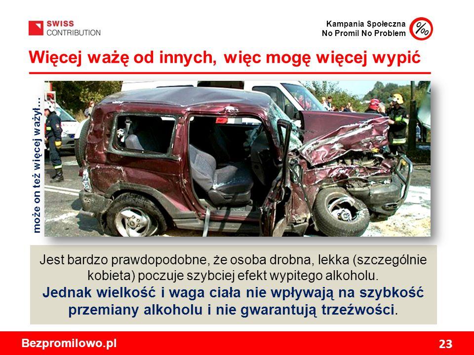 Kampania Społeczna No Promil No Problem Bezpromilowo.pl 23 Więcej ważę od innych, więc mogę więcej wypić Jest bardzo prawdopodobne, że osoba drobna, lekka (szczególnie kobieta) poczuje szybciej efekt wypitego alkoholu.