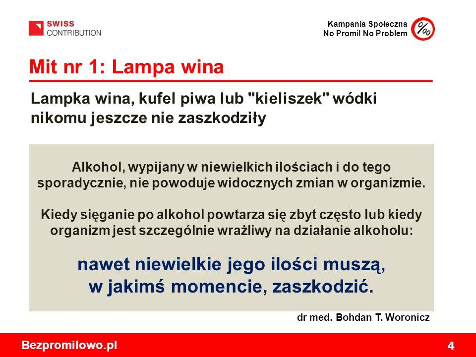 Kampania Społeczna No Promil No Problem Bezpromilowo.pl 4 Mit nr 1: Lampa wina Alkohol, wypijany w niewielkich ilościach i do tego sporadycznie, nie powoduje widocznych zmian w organizmie.