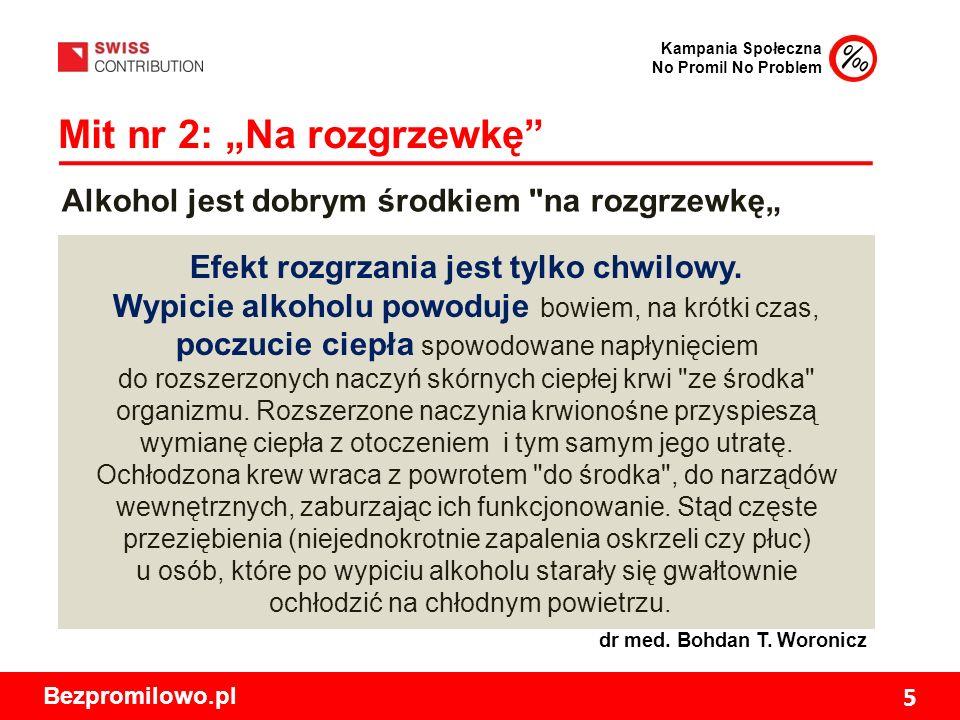 """Kampania Społeczna No Promil No Problem Bezpromilowo.pl 5 Mit nr 2: """"Na rozgrzewkę Efekt rozgrzania jest tylko chwilowy."""