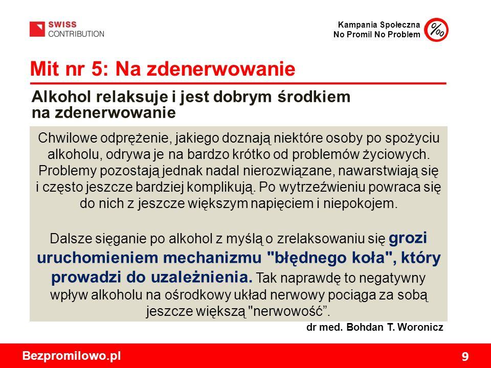 Kampania Społeczna No Promil No Problem Bezpromilowo.pl 9 Mit nr 5: Na zdenerwowanie Chwilowe odprężenie, jakiego doznają niektóre osoby po spożyciu alkoholu, odrywa je na bardzo krótko od problemów życiowych.
