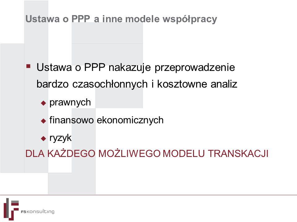 Ustawa o PPP a inne modele współpracy  Ustawa o PPP nakazuje przeprowadzenie bardzo czasochłonnych i kosztowne analiz  prawnych  finansowo ekonomicznych  ryzyk DLA KAŻDEGO MOŻLIWEGO MODELU TRANSKACJI