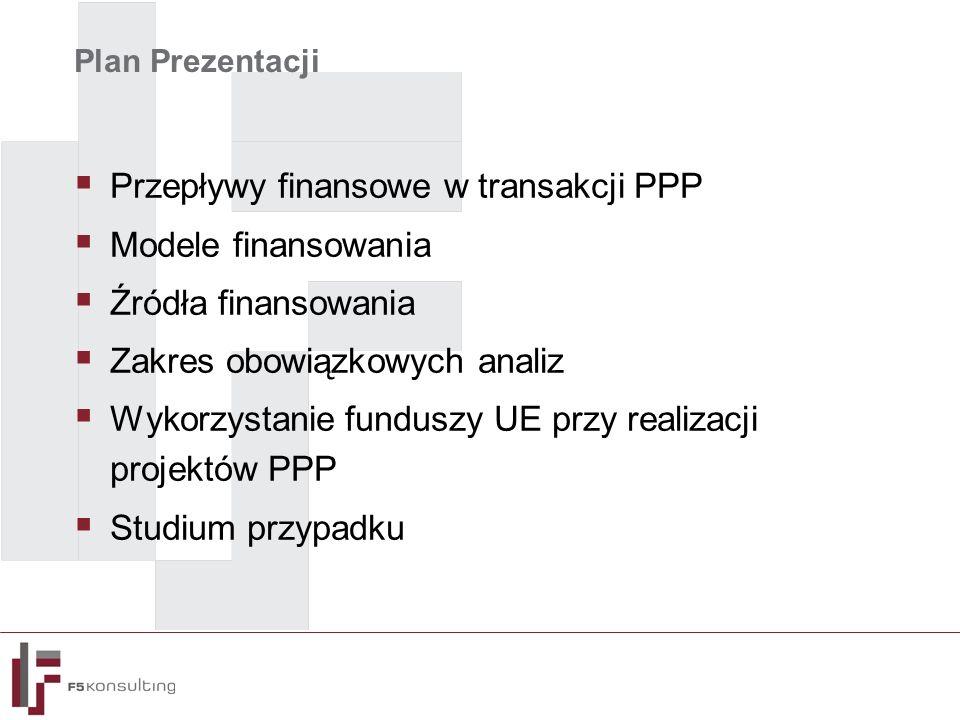 Plan Prezentacji  Przepływy finansowe w transakcji PPP  Modele finansowania  Źródła finansowania  Zakres obowiązkowych analiz  Wykorzystanie funduszy UE przy realizacji projektów PPP  Studium przypadku