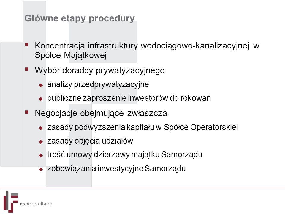 Główne etapy procedury  Koncentracja infrastruktury wodociągowo-kanalizacyjnej w Spółce Majątkowej  Wybór doradcy prywatyzacyjnego  analizy przedprywatyzacyjne  publiczne zaproszenie inwestorów do rokowań  Negocjacje obejmujące zwłaszcza  zasady podwyższenia kapitału w Spółce Operatorskiej  zasady objęcia udziałów  treść umowy dzierżawy majątku Samorządu  zobowiązania inwestycyjne Samorządu