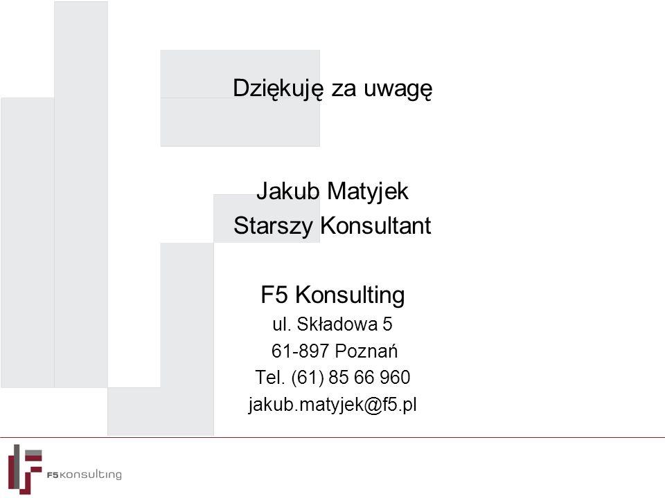 Dziękuję za uwagę Jakub Matyjek Starszy Konsultant F5 Konsulting ul. Składowa 5 61-897 Poznań Tel. (61) 85 66 960 jakub.matyjek@f5.pl