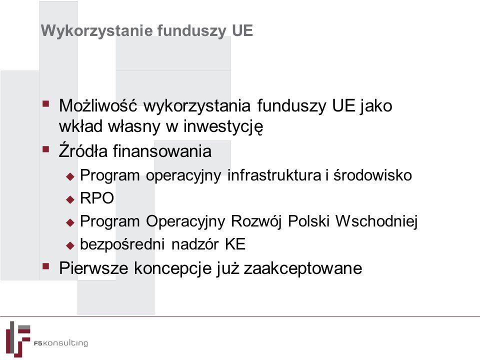 Wykorzystanie funduszy UE  Możliwość wykorzystania funduszy UE jako wkład własny w inwestycję  Źródła finansowania  Program operacyjny infrastruktura i środowisko  RPO  Program Operacyjny Rozwój Polski Wschodniej  bezpośredni nadzór KE  Pierwsze koncepcje już zaakceptowane