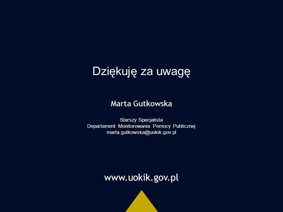 www.uokik.gov.pl Dziękuję za uwagę www.uokik.gov.pl Marta Gutkowska Starszy Specjalista Departament Monitorowania Pomocy Publicznej marta.gutkowska@uokik.gov.pl