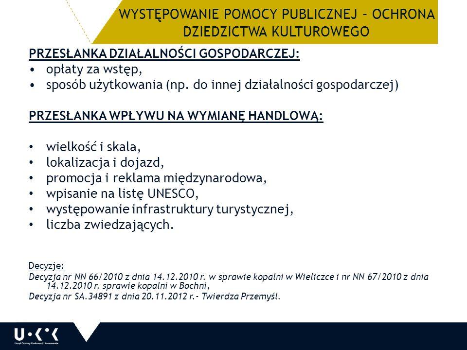 WYSTĘPOWANIE POMOCY PUBLICZNEJ – OCHRONA DZIEDZICTWA KULTUROWEGO PRZESŁANKA DZIAŁALNOŚCI GOSPODARCZEJ: opłaty za wstęp, sposób użytkowania (np.