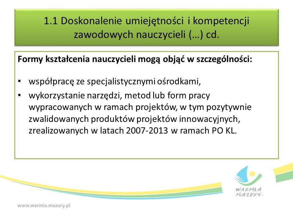 1.1 Doskonalenie umiejętności i kompetencji zawodowych nauczycieli (…) cd. Formy kształcenia nauczycieli mogą objąć w szczególności: współpracę ze spe
