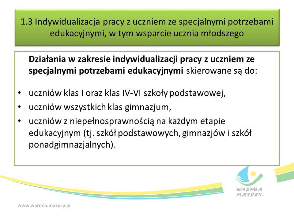 1.3 Indywidualizacja pracy z uczniem ze specjalnymi potrzebami edukacyjnymi, w tym wsparcie ucznia młodszego Działania w zakresie indywidualizacji pra