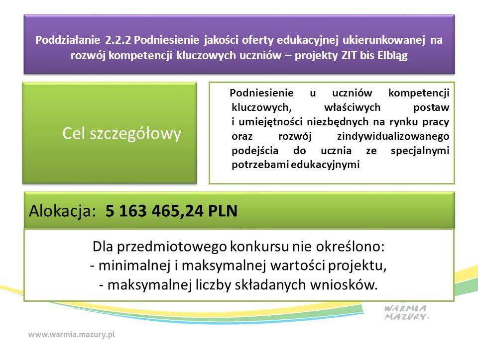 Poddziałanie 2.2.2 Podniesienie jakości oferty edukacyjnej ukierunkowanej na rozwój kompetencji kluczowych uczniów – projekty ZIT bis Elbląg Cel szczegółowy Podniesienie u uczniów kompetencji kluczowych, właściwych postaw i umiejętności niezbędnych na rynku pracy oraz rozwój zindywidualizowanego podejścia do ucznia ze specjalnymi potrzebami edukacyjnymi Alokacja: 5 163 465,24 PLN Dla przedmiotowego konkursu nie określono: - minimalnej i maksymalnej wartości projektu, - maksymalnej liczby składanych wniosków.