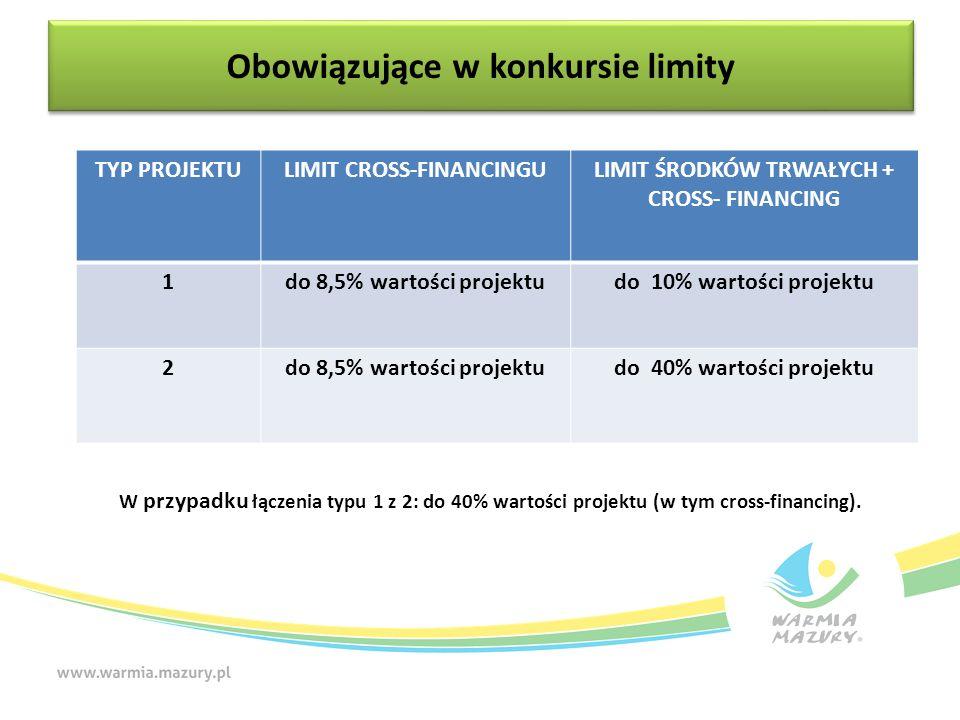 W przypadku łączenia typu 1 z 2: do 40% wartości projektu (w tym cross-financing). Obowiązujące w konkursie limity TYP PROJEKTULIMIT CROSS-FINANCINGUL