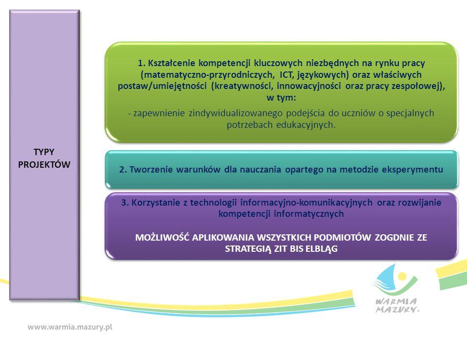 TYPY PROJEKTÓW TYPY PROJEKTÓW 1. Kształcenie kompetencji kluczowych niezbędnych na rynku pracy (matematyczno-przyrodniczych, ICT, językowych) oraz wła