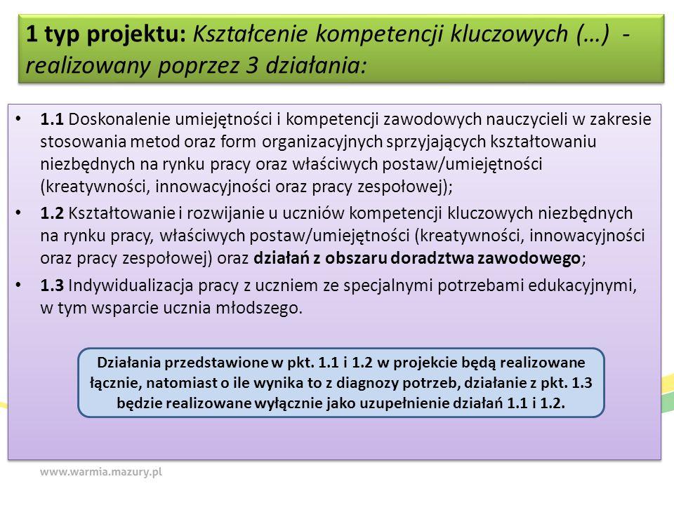1 typ projektu: Kształcenie kompetencji kluczowych (…) - realizowany poprzez 3 działania: 1.1 Doskonalenie umiejętności i kompetencji zawodowych naucz
