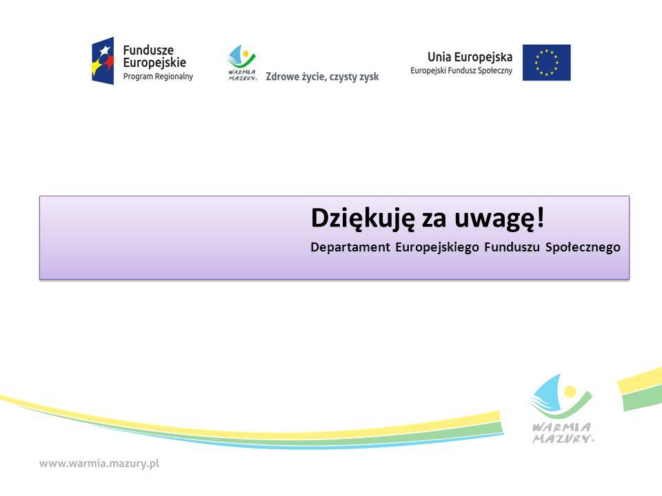 Dziękuję za uwagę! Departament Europejskiego Funduszu Społecznego Dziękuję za uwagę! Departament Europejskiego Funduszu Społecznego