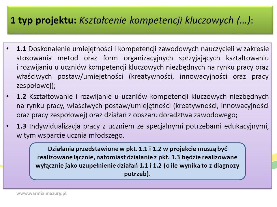 1 typ projektu: Kształcenie kompetencji kluczowych (…): 1.1 Doskonalenie umiejętności i kompetencji zawodowych nauczycieli w zakresie stosowania metod oraz form organizacyjnych sprzyjających kształtowaniu i rozwijaniu u uczniów kompetencji kluczowych niezbędnych na rynku pracy oraz właściwych postaw/umiejętności (kreatywności, innowacyjności oraz pracy zespołowej); 1.2 Kształtowanie i rozwijanie u uczniów kompetencji kluczowych niezbędnych na rynku pracy, właściwych postaw/umiejętności (kreatywności, innowacyjności oraz pracy zespołowej) oraz działań z obszaru doradztwa zawodowego; 1.3 Indywidualizacja pracy z uczniem ze specjalnymi potrzebami edukacyjnymi, w tym wsparcie ucznia młodszego.