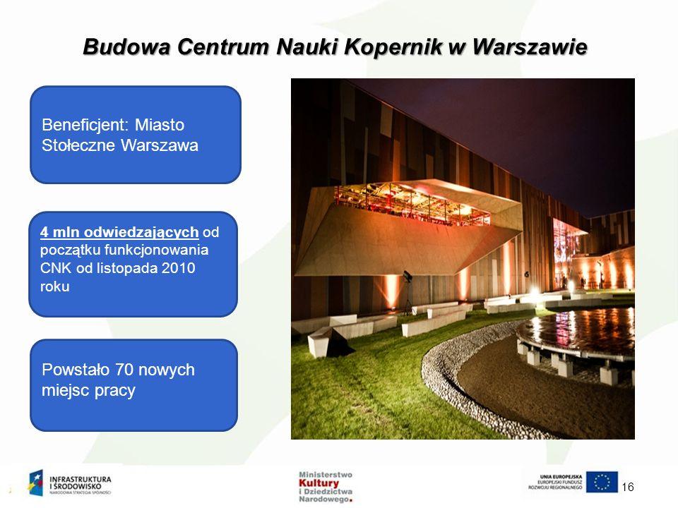 Budowa Centrum Nauki Kopernik w Warszawie 16 Beneficjent: Miasto Stołeczne Warszawa 4 mln odwiedzających od początku funkcjonowania CNK od listopada 2010 roku Powstało 70 nowych miejsc pracy