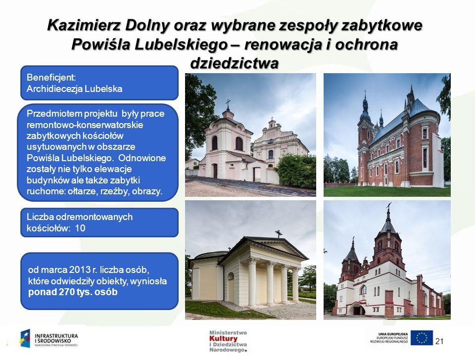 Kazimierz Dolny oraz wybrane zespoły zabytkowe Powiśla Lubelskiego – renowacja i ochrona dziedzictwa 21 Beneficjent: Archidiecezja Lubelska od marca 2013 r.