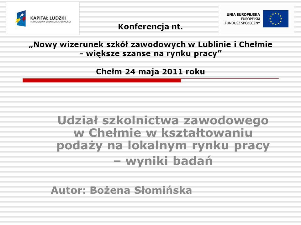 Prezentowane problemy badawcze  Tendencje zmian w strukturze kształcenia w Chełmie na tle woj.