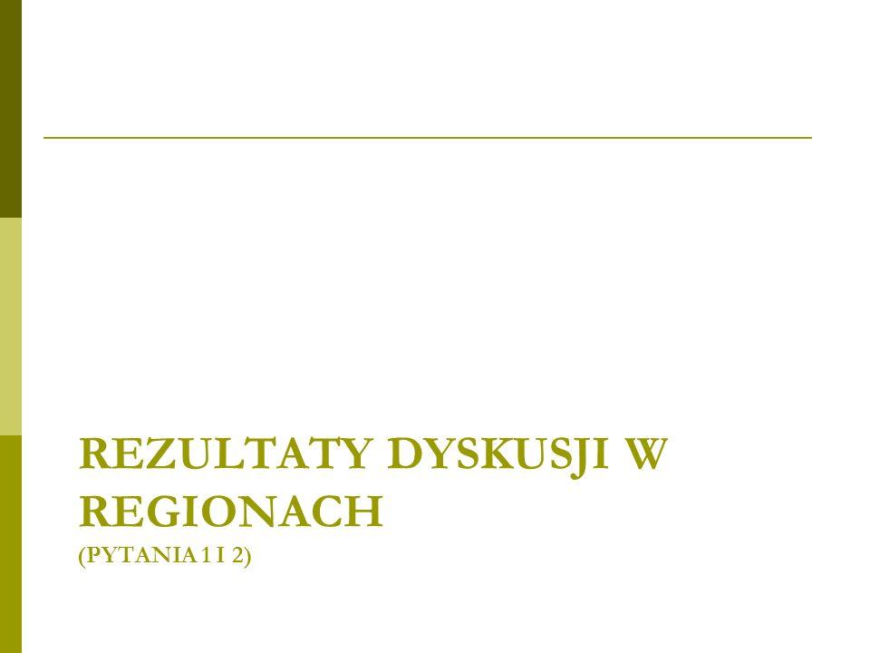 REZULTATY DYSKUSJI W REGIONACH (PYTANIA 1 I 2)