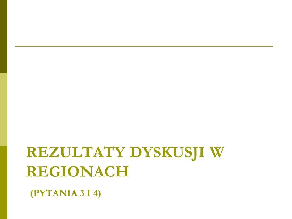 REZULTATY DYSKUSJI W REGIONACH (PYTANIA 3 I 4)